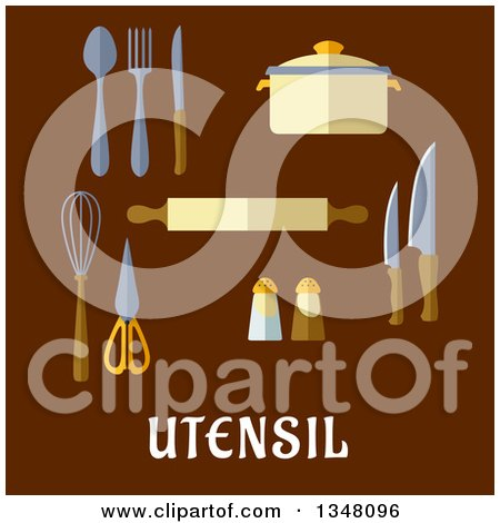 Clipart of Flat Design Kitchen Utensils with Text on Brown - Royalty Free Vector Illustration by Vector Tradition SM
