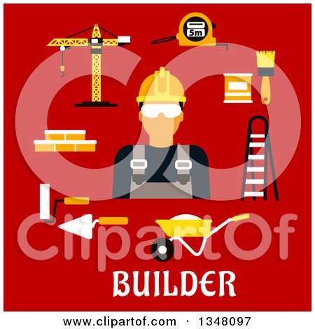 Clipart of a Flat Design Male Builder with Accessories over Text on Red - Royalty Free Vector Illustration by Vector Tradition SM