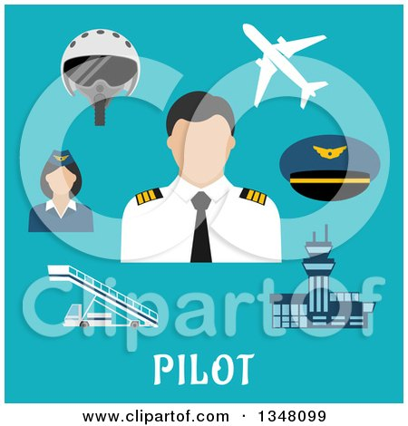 Clipart of a Flat Design Male Pilot, Accessories and Text on Blue - Royalty Free Vector Illustration by Vector Tradition SM