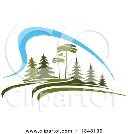 Clipart of a Park with Evergreen Trees and Blue Sky - Royalty Free Vector Illustration by Vector Tradition SM