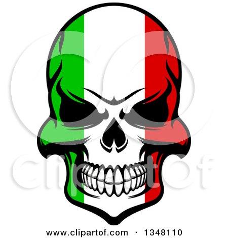 Grinning Evil Skull in Italian Flag Colors Posters, Art Prints