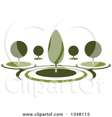 Clipart of a Park with Green Shrubs and Trees in a Garden - Royalty Free Vector Illustration by Vector Tradition SM