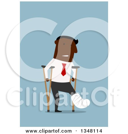 Clipart of a Flat Design of a Hurt Black Businessman Using Crutches on Blue - Royalty Free Vector Illustration by Vector Tradition SM