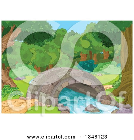 Clipart of a Stone Foot Bridge over a Creek with Trees and Shrubs - Royalty Free Vector Illustration by Pushkin