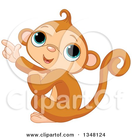 Clipart of a Happy Monkey Pointing to the Left - Royalty Free Vector Illustration by Pushkin
