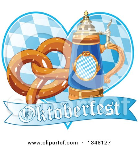 Clipart of a German Beer Stein with a Soft Pretzel over a Heart and Oktoberfest Banner - Royalty Free Vector Illustration by Pushkin