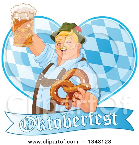 Clipart of a Happy Blond Oktoberfest German Man Holding a Beer Mug and Soft Pretzel over a Diamond Patterned Heart and Banner - Royalty Free Vector Illustration by Pushkin