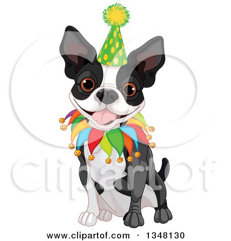 Clipart of a Cute Boston Terrier or French Bulldog Sitting and Wearing a Birthday Hat and Collar - Royalty Free Vector Illustration by Pushkin