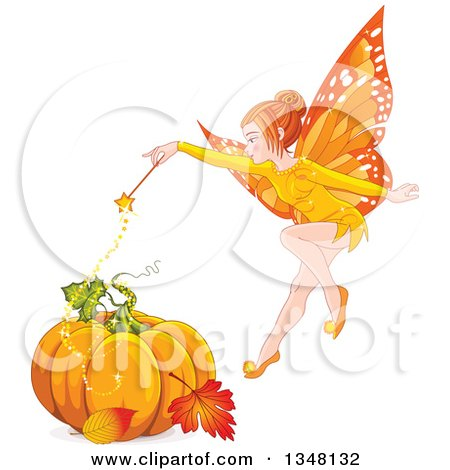 Clipart of a Magic Autumn Fairy Flying over a Pumpkin and Autumn Leaves - Royalty Free Vector Illustration by Pushkin