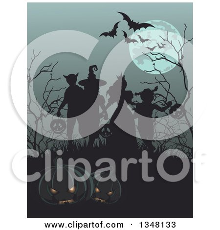 Clipart of a Group of Silhouetted Halloween Children on a Grassy Hill with Bare Trees, Flying Bats and a Full Moon, Jackolanterns in the Foreground - Royalty Free Vector Illustration by Pushkin
