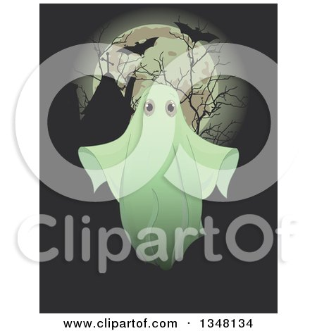 Clipart of a Halloween Ghost over Silhouetted Bare Branches, Tombstones, Flying Bats and a Full Moon - Royalty Free Vector Illustration by Pushkin