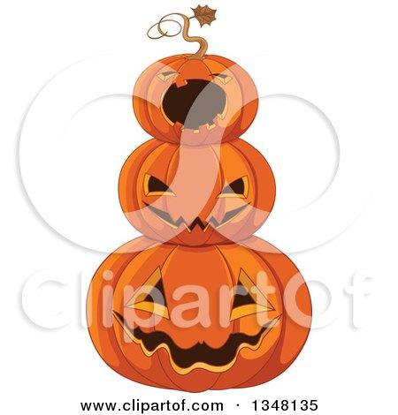 Stack of Carved Halloween Jackolantern Pumpkins Posters, Art Prints