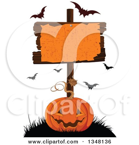 Clipart of a Carved Halloween Jackolantern Pumpkin Under a Blank Sign with Flying Bats - Royalty Free Vector Illustration by Pushkin