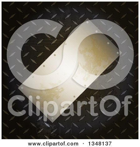 Clipart of a Tilted 3d Blank Metal Plaque over Diamond Plate - Royalty Free Vector Illustration by elaineitalia