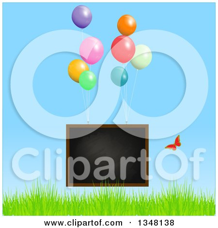 Clipart of a Floating Blackboard with Party Balloons and Butterfly over Grass and Blue Sky - Royalty Free Vector Illustration by elaineitalia