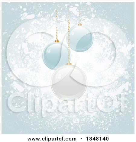 Clipart of 3d Suspended White and Blue Christmas Baubles over Grunge - Royalty Free Vector Illustration by elaineitalia