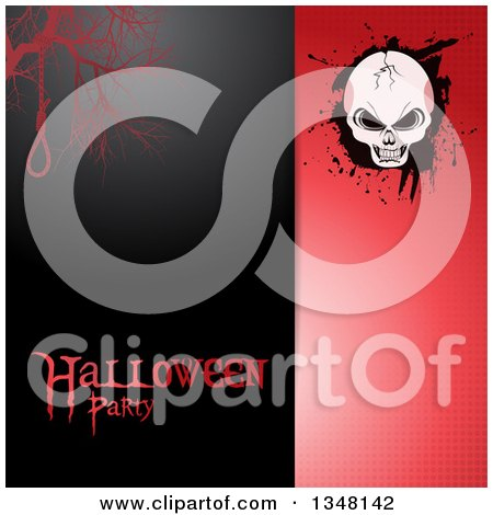 Clipart of a Split Black and Red Halftone Halloween Invitation Background with Text, a Noose and Cracked Skull on Grunge - Royalty Free Vector Illustration by elaineitalia