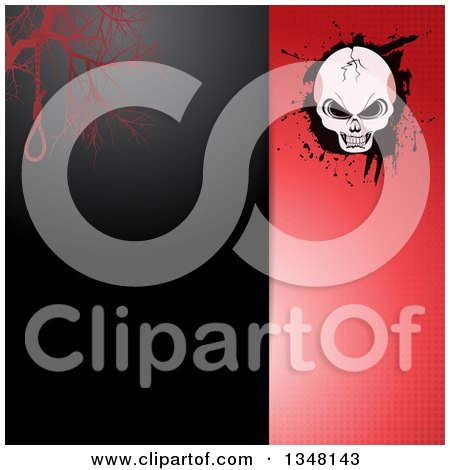 Split Black and Red Halftone Halloween Invitation Background with a Noose and Cracked Skull on Grunge Posters, Art Prints