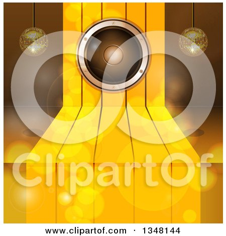 Clipart of a 3d Music Speaker over Gold Steps, with Suspended Disco Music Balls and Flares - Royalty Free Vector Illustration by elaineitalia