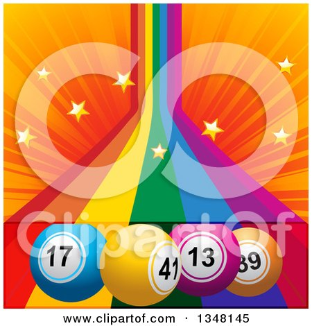 Clipart of 3d Colorful Bingo Balls over a Rainbow with Stars and Orange Rays - Royalty Free Vector Illustration by elaineitalia