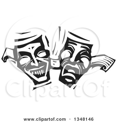 Clipart of Black and White Woodcut Janus Theater Masks - Royalty Free Vector Illustration by xunantunich