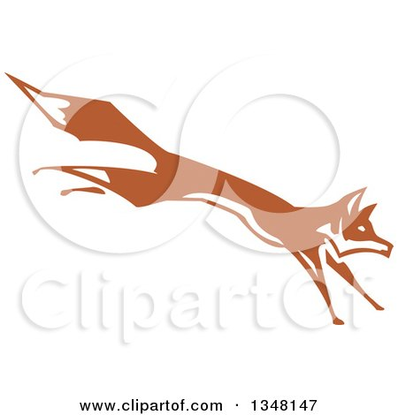Clipart Of A Woodcut Running And Leaping Fox Royalty Free Vector Illustration