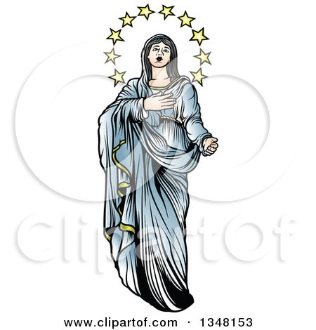 Clipart of Virgin Mary in Blue, with Stars - Royalty Free Vector Illustration by dero