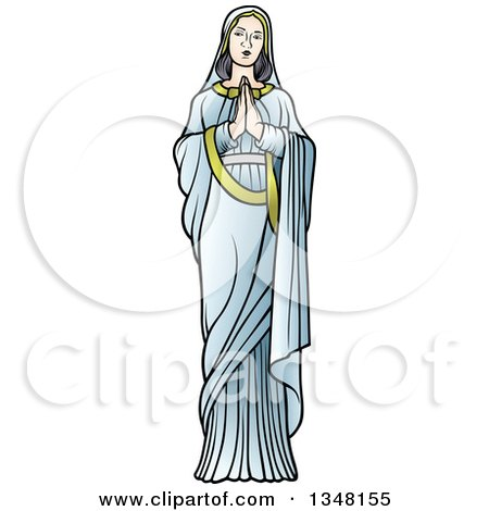 Clipart of Full Length Virgin Mary in Blue, Praying - Royalty Free Vector Illustration by dero