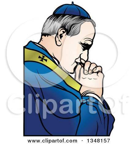 Clipart of a Pope Praying - Royalty Free Vector Illustration by dero