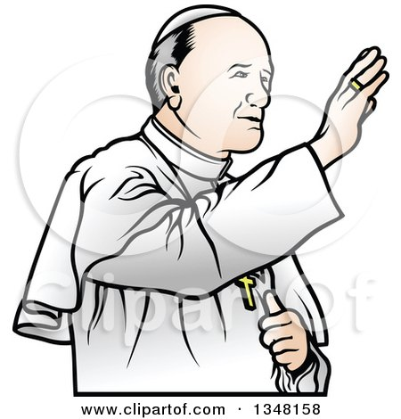 Clipart of a Pope Waving - Royalty Free Vector Illustration by dero