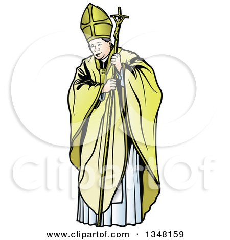 Clipart of a Pope with a Staff - Royalty Free Vector Illustration by dero