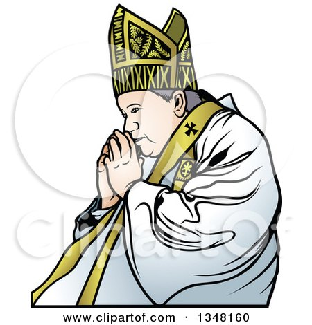 Clipart of a Pope Praying 2 - Royalty Free Vector Illustration by dero