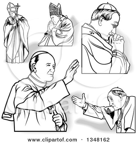 Clipart of Popes with Shadows - Royalty Free Vector Illustration by dero