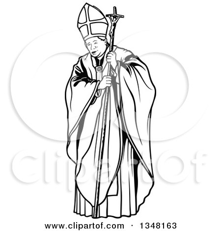 Clipart of a Black and White Pope with a Staff - Royalty Free Vector Illustration by dero