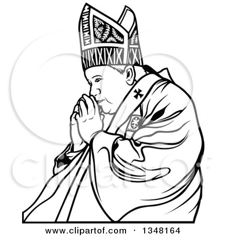 Clipart of a Black and White Pope Praying 2 - Royalty Free Vector Illustration by dero