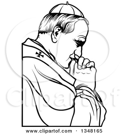 Clipart of a Black and White Pope Praying - Royalty Free Vector Illustration by dero