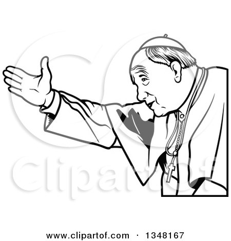 Clipart of a Black and White Pope Welcoming - Royalty Free Vector Illustration by dero