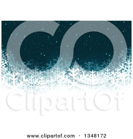 Clipart of a Dark Blue Christmas Background of Snowflakes and a White Bottom - Royalty Free Vector Illustration by dero