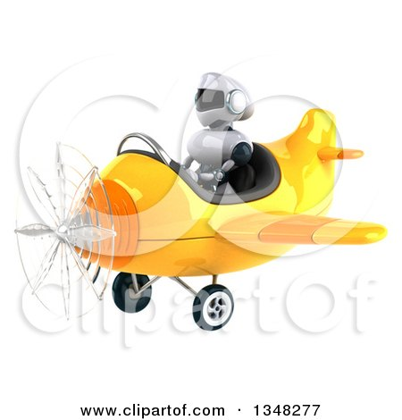 Clipart of a 3d White and Blue Robot Aviator Pilot Flying a Yellow Airplane to the Left - Royalty Free Illustration by Julos