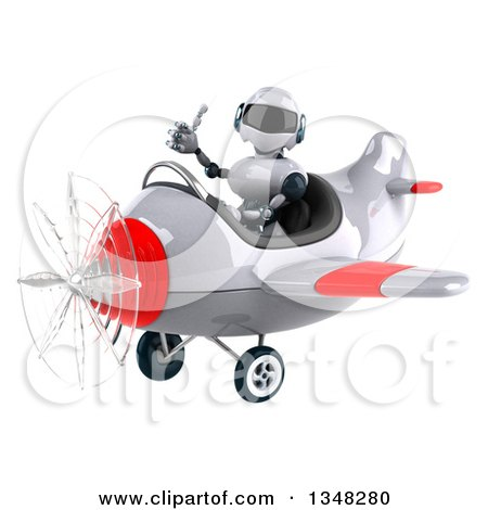 Clipart of a 3d White and Blue Robot Aviator Pilot Giving a Thumb up and Flying a White and Red Airplane to the Left - Royalty Free Illustration by Julos