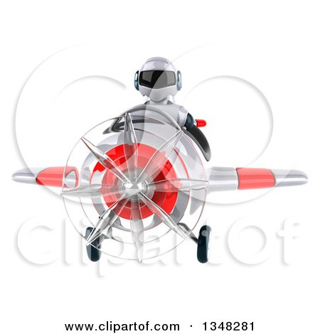 Clipart of a 3d White and Blue Robot Aviator Pilot Flying a White and Red Airplane to the Left - Royalty Free Illustration by Julos