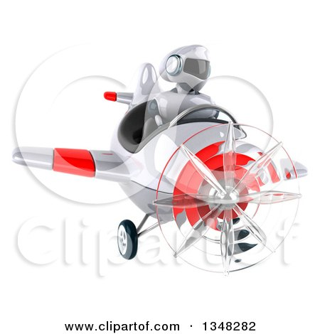 Clipart of a 3d White and Blue Robot Aviator Pilot Flying a White and Red Airplane - Royalty Free Illustration by Julos