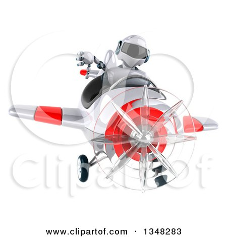 Clipart of a 3d White and Blue Robot Aviator Pilot Giving a Thumb down and Flying a White and Red Airplane - Royalty Free Illustration by Julos