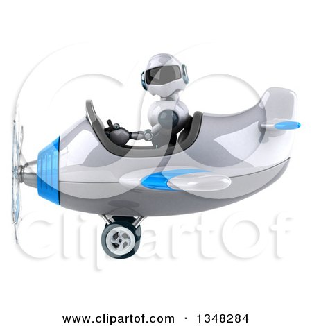 Clipart of a 3d White and Blue Robot Aviator Pilot Flying an Airplane to the Left - Royalty Free Illustration by Julos