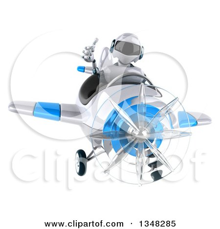 Clipart of a 3d White and Blue Robot Aviator Pilot Giving a Thumb up and Flying an Airplane - Royalty Free Illustration by Julos