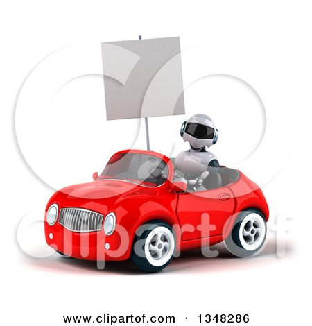 Clipart of a 3d White and Blue Holding a Blank Sign and Robot Driving a Red Car to the Left - Royalty Free Illustration by Julos