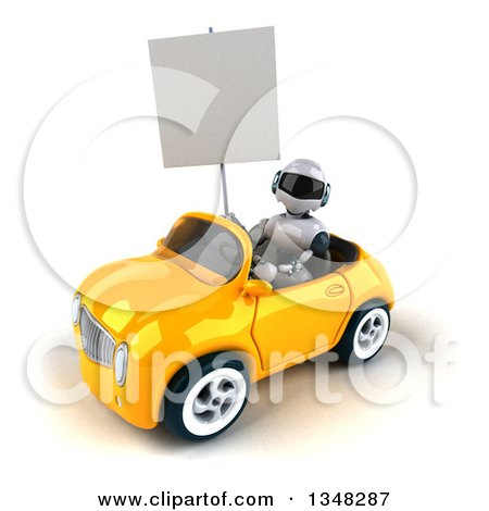 Clipart of a 3d White and Blue Robot Holding a Blank Sign and Driving a Yellow Car to the Left - Royalty Free Illustration by Julos