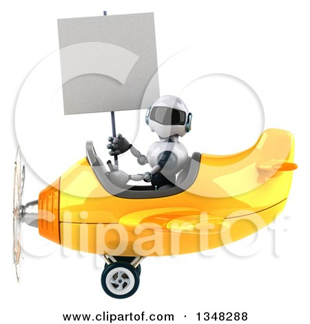 Clipart of a 3d White and Blue Robot Aviator Pilot Holding a Blank Sign and Flying a Yellow Airplane to the Left - Royalty Free Illustration by Julos