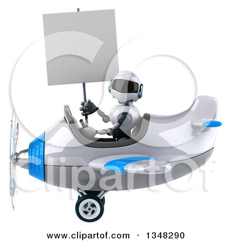 Clipart of a 3d White and Blue Robot Aviator Pilot Holding a Blank Sign and Flying an Airplane to the Left - Royalty Free Illustration by Julos