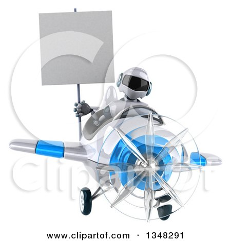 Clipart of a 3d White and Blue Robot Aviator Pilot Holding a Blank Sign and Flying an Airplane - Royalty Free Illustration by Julos